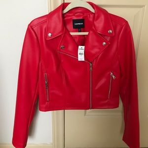 NWT Express Red Faux Cropped Leather Jacket